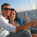 newlyweds enjoying a sailing trip