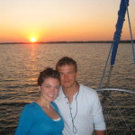 newlyweds on sunset cruise in orange beach